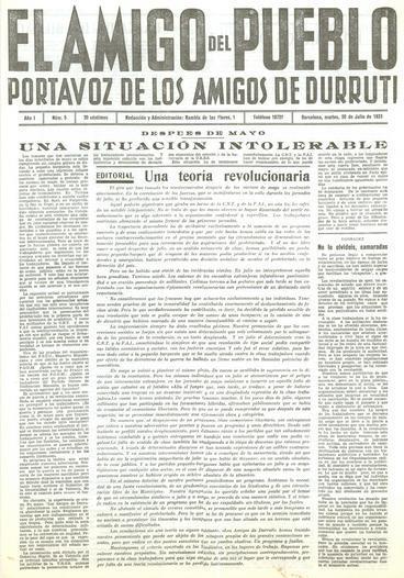 El 20 de julio de 1937 se publica en el nº 5 del El Amigo del Pueblo, el órgano de Los Amigos de Durruti, una editorial titulada «Una teoría revolucionaria», […]